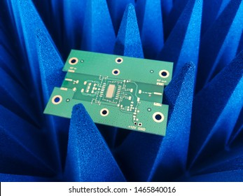 Electronics Printed Circuit Borad in front of Electromagnetic compatibility measurements absorbers