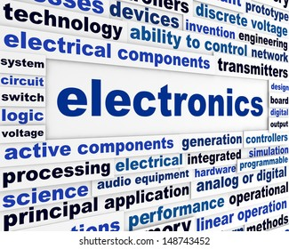 Electronics technological words conceptual poster. Modern electrical technology background
