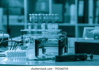 electrophoresis device in a genetics lab to decrypt the genetic code