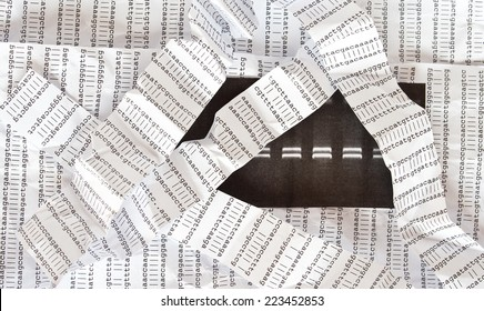 Electrophoresis picture on a crumpled DNA sequence background with crumpled DNA sequence stripes over it