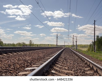 Electrophysiology railway Sunny day in Russia