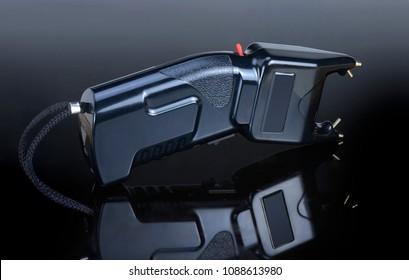 Electroshock black for defense against attack on a different background