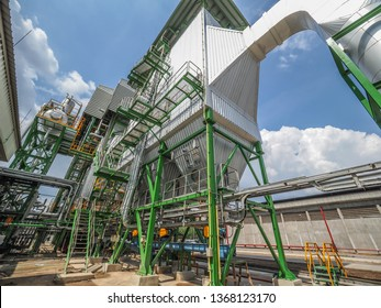 An electrostatic precipitator and stack in biomass power plant.