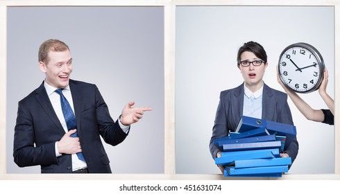 Elegan man in suit laughing at a worried woman with binders in her hands ald clock close to her head