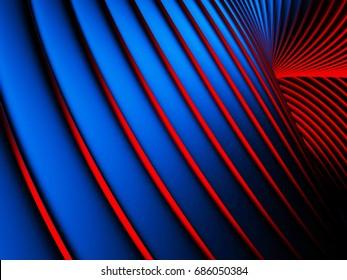 Elegance blue red wave stripe wall background. 3d render illustration