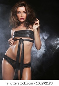elegance lady in the lingerie dancing in the night club