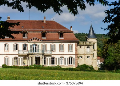 Elegance old french chateau in Alsace, summer time