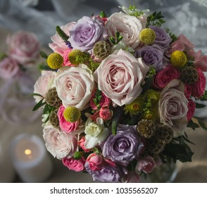elegance rose bouquet  design with candles