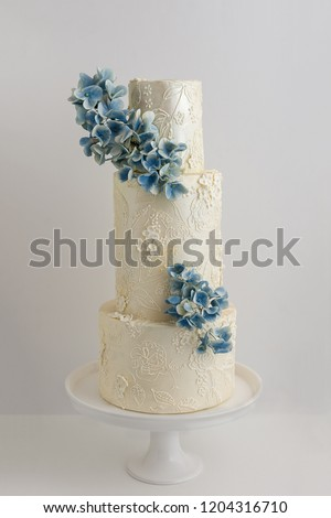 Elegant 3 Tier Wedding Cake Piped Stock Photo Edit Now 1204316710