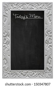 Elegant antique white picture frame with chalkboard - blackboard used as Today`s Menu - isolated on a white background