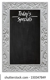 Elegant antique white picture frame with chalkboard - blackboard used as Today`s Specials - isolated on a white background