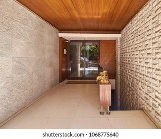elegant apartment building entrance, downtown Athens Greece