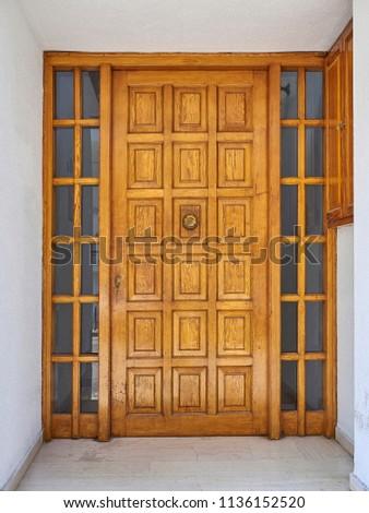Elegant Apartment Building Entrance Solid Wood Stock Photo Edit Now