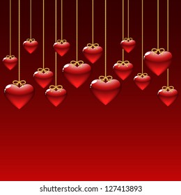 elegant background with red hearts.