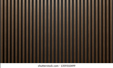 Elegant background of wooden slats over dark wall. Mahogany sheets.