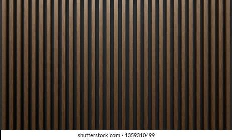 Eleganter Hintergrund von Holzlatten auf dunkler Wand. Mahagoniholz.