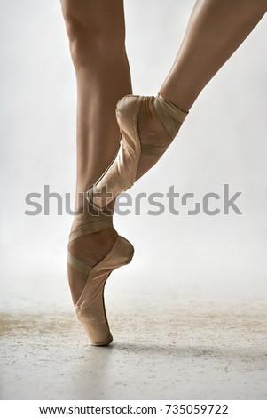 473f9f5ad Elegant ballerina is posing in the studio on the light background. She  stands on the right toe and holds left leg in the air. Girl wears beige pointe  shoes.