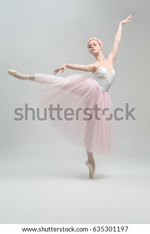 adff9e04a Elegant Ballerina Stands On Pointe On Stock Photo (Edit Now ...