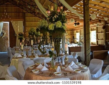 Elegant Barn Wedding Reception Using Tall Stock Photo Edit Now