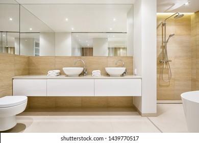 Elegant bathroom interior with two, white washbasins, shower and bathtub