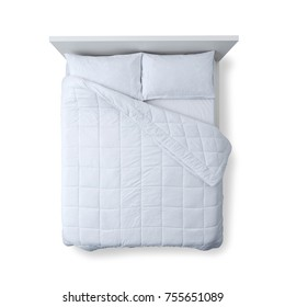 Elegant bed with soft duvet, bedding and pillows on white background, top view