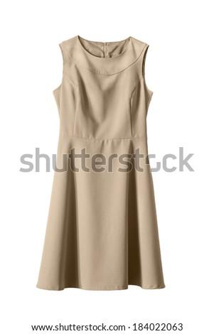 b41dc09fae Elegant Beige Knee Length Dress On Stock Photo (Edit Now) 184022063 ...