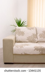 elegant beige sofa closeup