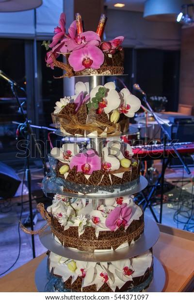 Terrific Elegant Birthday Cake Decorated White Pink Stock Photo Edit Now Funny Birthday Cards Online Overcheapnameinfo
