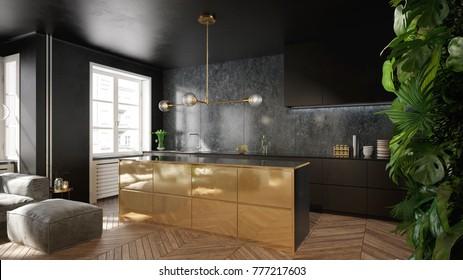 Elegant black and gold kitchen interior  - 3 d render