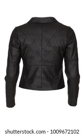 Elegant black woman's leather jacket, photographed on ghost mannequin, isolated with white background. Back view.