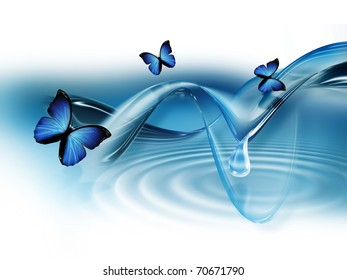 elegant blue abstract background with butterflies