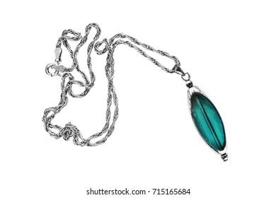 Elegant blue aquamarine pendant on white background