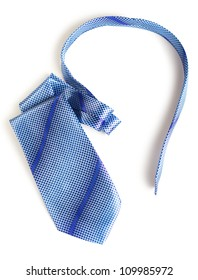 elegant blue tie isolated on white background