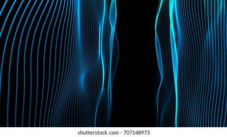 Elegant blue vertical strings waving. 3D rendering