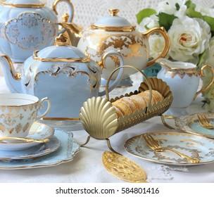Elegant blue vintage afternoon tea
