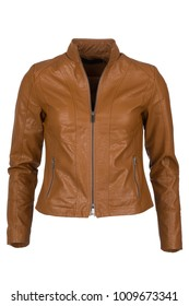 Elegant brandy color woman's leather jacket, photographed on ghost mannequin, isolated with white background. Front view.