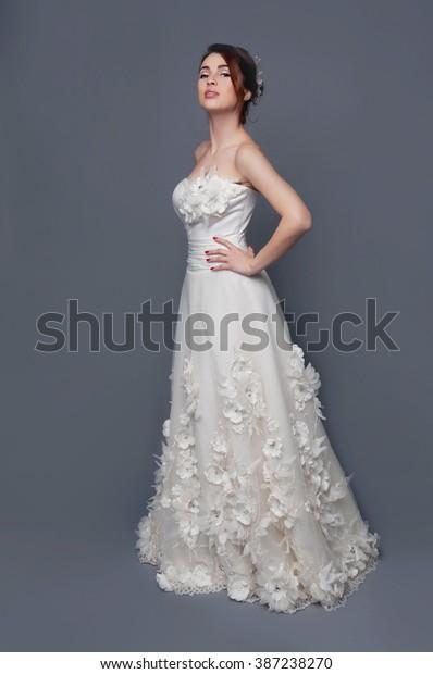 Elegant Bride Brown Short Hair Updo Stock Photo Edit Now 387238270
