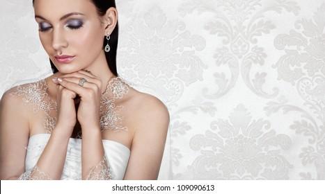 Elegant bride on vintage background. Banner, space for text.