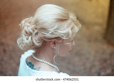 elegant bride woman in autumn forest