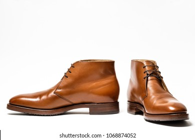Elegant brown  man shoes isolated on white background