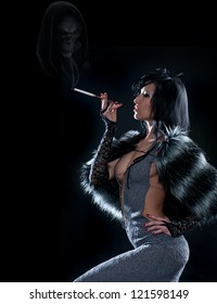 Elegant brunette in a fur cape, holding a smoking cigarette. Smoke in the form of a human skull