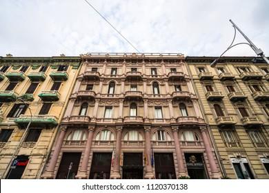 """Elegant buildings in the """"Quartiere Murattiano"""" of Bari. Bari, Apulia, Italy, August 2017"""
