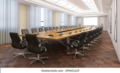 Elegant business conference room with table and chairs (3D Rendering)
