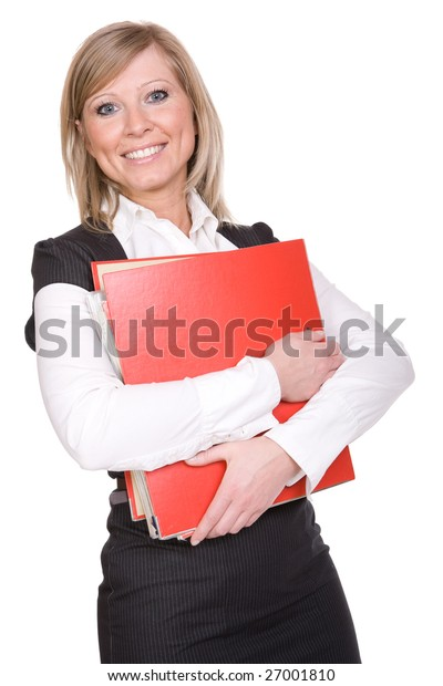 elegant business woman isolated on white background