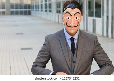 Elegant businessman with a mask