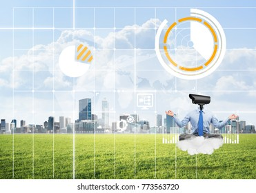 Elegant businessman outdoors floating on cloud and camera instead of head