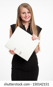 Elegant businesswoman with a happy look, holding a large file.