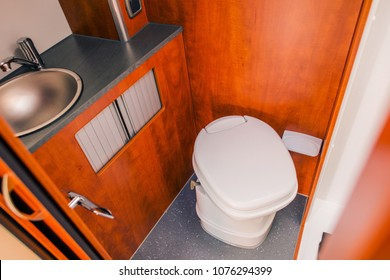 Elegant Camper RV Bathroom with Cassette Toilet. Rving in Style.