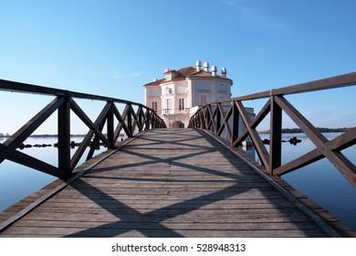 The elegant Casina Vanvitelliana on lake Fusaro, Pozzuoli, Naples, Italy