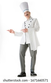 Elegant chef cook posing on a white background